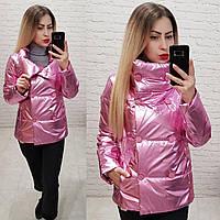 Женская демисезонная куртка (арт 1001) цвет розовый