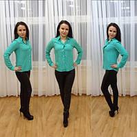 Женская рубашка в горошек из штапеля с длинными рукавами