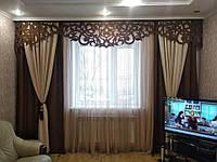 Знижка 10%! Ажурний ламбрекен (ЛЬОН) для залу зі шторами, розмір 4м. Штори в комплекті. (К)