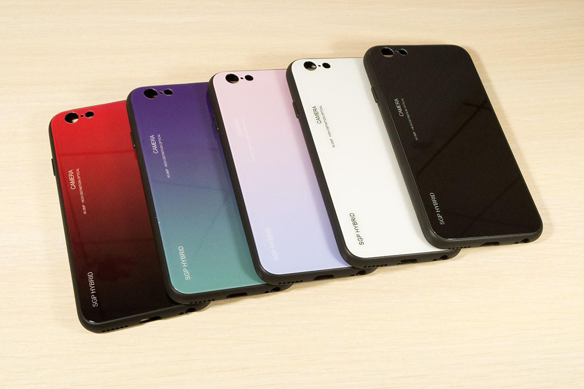 TPU+Glass чехол градиент для iPhone 6 / 6S (Разные цвета)