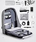 """Городской рюкзак Bobby 17"""" антивор под ноутбук с USB /  водоотталкивающий Серый, Бобби, дюймов реплика, фото 8"""