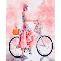 Картина по номерам. Девушка на велосипеде в стиле акварель