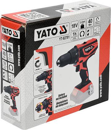 Дрель-шуруповерт аккумуляторный YATO YT-82781, фото 2