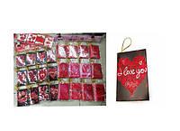 """Вітальні листівки """"Валентинки""""з глітером (6,7x9,4 см, 120 шт\блістері (дизайни мікс)."""