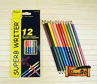 """Цветные карандаши Superb Writer 24 цвета 12/24 двухсторонние №4110-12CB  """"MARCO"""" (уп12\240)"""