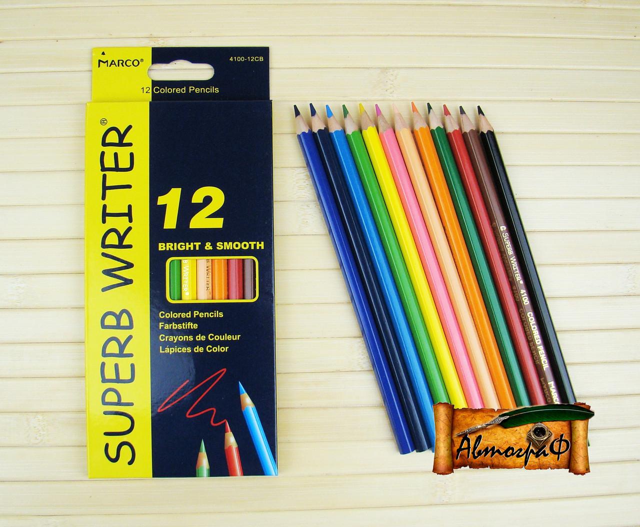 """Цветные карандаши Superb Writer 12 цветов №4100-12CB """"MARCO"""" (уп12\240)"""