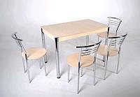 Комплект Видрис Б (Стол+4 стула) 110смх65смх75см металл хром