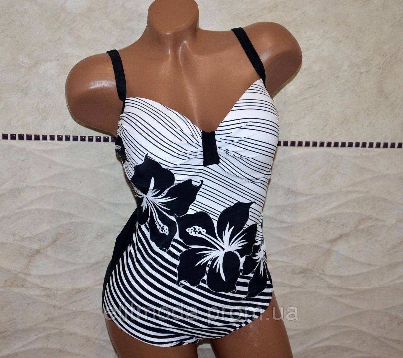 60dc5706cea60 Большой размер 52, женский слитный купальник, открытая спинка, черно-белый,  формовая
