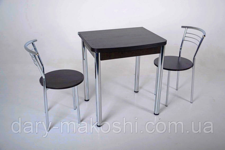 Комплект раскладной стол Тавол Овале + 2 стула хром