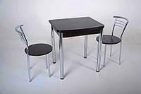 Комплект раскладной стол Тавол Овале + 2 стула хром, фото 1
