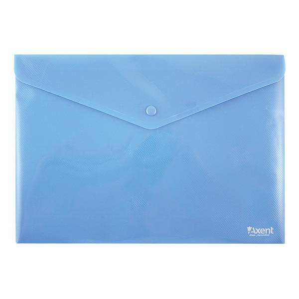 Конверт пластиковый на кнопке А4 Axent 1412 синий