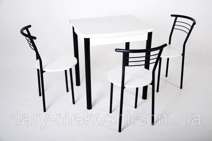 Кухонный комплект Тавол Овале ножки черный металл (Стол раскладной + 3 стула)