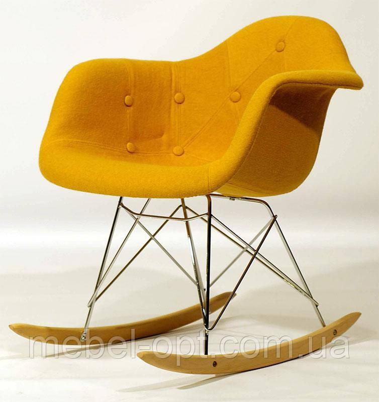 Мягкое кресло качалка Leon Soft Rack Eames RAR шерсть желтое W-4, Charles Eames Rocker Shell