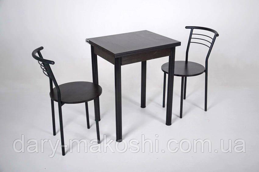 Кухонный комплект Тавол Компакт 60см х 50см ножки черный металл (Стол раскладной + 2 стула)