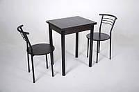 Кухонный комплект Тавол Компакт 60см х 50см ножки черный металл (Стол раскладной + 2 стула), фото 1
