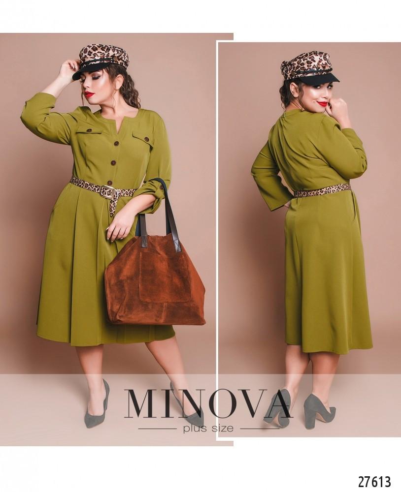 Стильное оливковое платье с поясом - 50-56рр