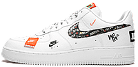 Женские кроссовки Nike Air Force 1 Low Just Do It Pack White (найк аир форс джаст ду ит, белые)