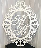 Монограмма герб на свадьбу инициалы МВ