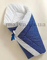 """Зимний конверт на выписку для новорожденных """"Бело-синие горошки"""", фото 1"""