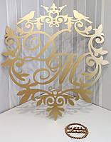 Свадебная монограмма, инициалы ДМ с покраской в золото