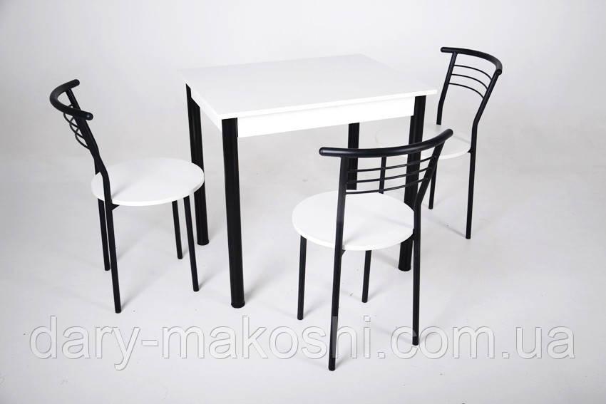 Кухонный комплект Тавол Ретта 80см х 60см ножки металл черный (Стол не раскладной + 3 стула)