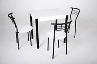 Кухонный комплект Тавол Ретта 80см х 60см ножки металл черный (Стол не раскладной + 3 стула), фото 1
