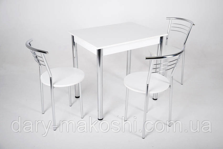 Кухонный комплект Тавол Ретта 80см х 60см ножки металл хром (Стол не раскладной + 3 стула)