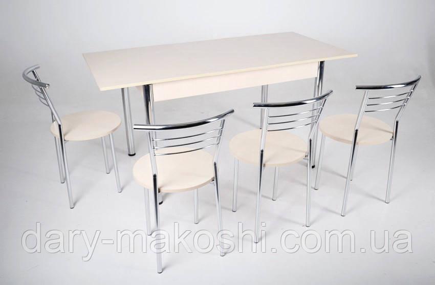 Комплект Тавол Раздвижной стол Скор 115 см х 75 см х 75 см + 4 стула хром