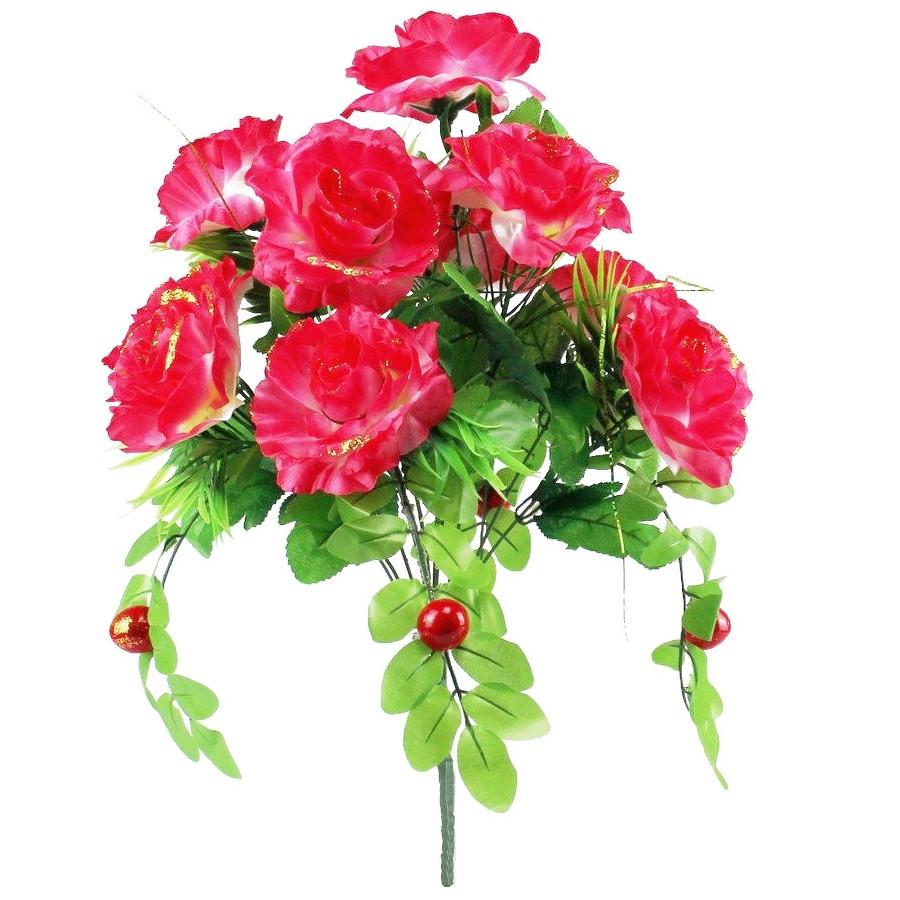 Искусственные цветы роза с ягодой, 50 см