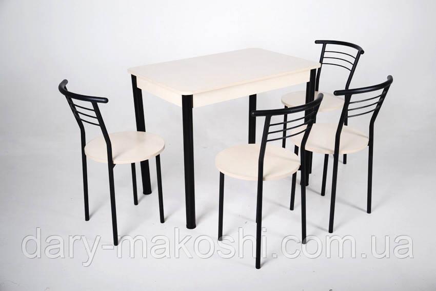 Стол Тавол Классик 93смх60смх75см черный металл + 4 стула