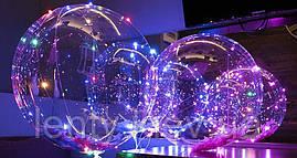 Шар Bobo / bubbles (баблс) 45 см. на палочке с гирляндой
