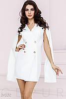 Короткое белое платье-пиджак с оригинальными рукавами