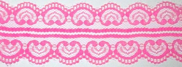 Кружево гипюр Сердечки 5 см, розовое