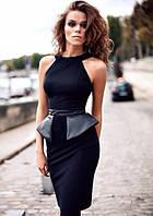 Элегантное женское платье с вставками из кожзама