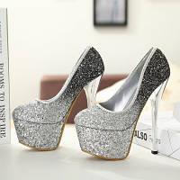 Роскошные туфли с золотыми блестками  каблук 15 см  2 цвета, фото 1