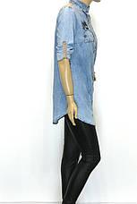 Джинсовая рубашка-туника с вышивкой , фото 2