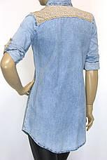 Джинсовая рубашка-туника с вышивкой , фото 3