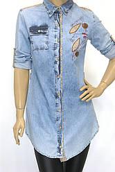 Джинсовая рубашка-туника с вышивкой