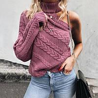 Женский свитер под горло крупной вязки с открытым плечом лиловый