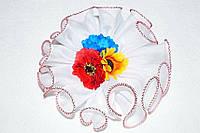 Белый бант Три цветка