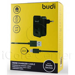 BUDI Travel charger 2USB 2.1A + Lightning cable 1.2 m White