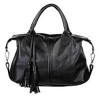 Кожаная женская сумка Барселона черная