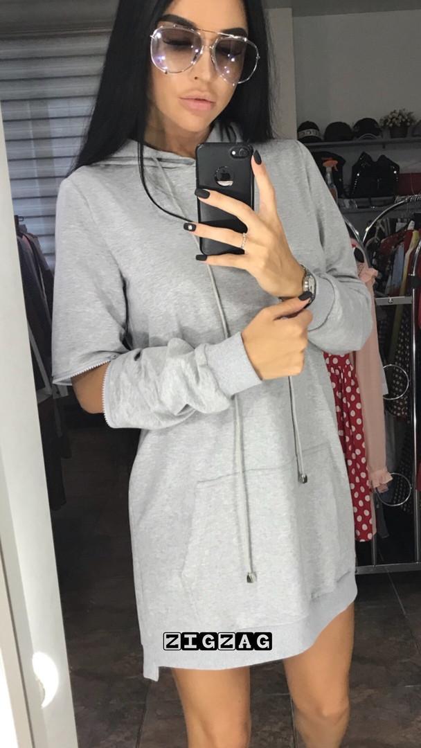 Туника-Платье женское турецкая двухнить, Карман кенгуру, Размер: 42-46 отстегивается рукав на локтях