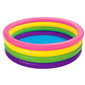 Бассейн надувной детский INTEX +ПОДАРОК 56441 пылающий закат, 4 кольца, 617 л 168-41 см