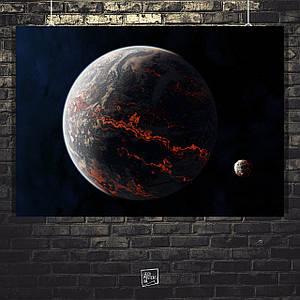 Постер Раскалённая планета и её спутник. Размер 60x40см (A2). Глянцевая бумага