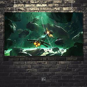 Постер Корабль взрывает астероид. Размер 60x30см (A2). Глянцевая бумага