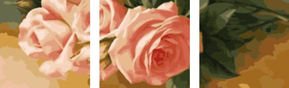 Раскраски для взрослых 50х150 см. Триптих Нежные розы