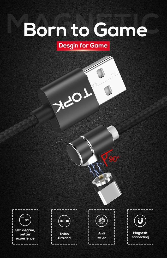 Магнитный кабель USB Type-C Topk для зарядки телефона Черный, 1м