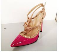Лакированные босоножки с заклепками  каблук 11 см  4 цвета