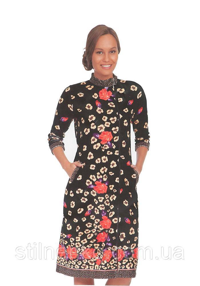 Жіночий халат велюровий з довгими рукавами, Cocoon